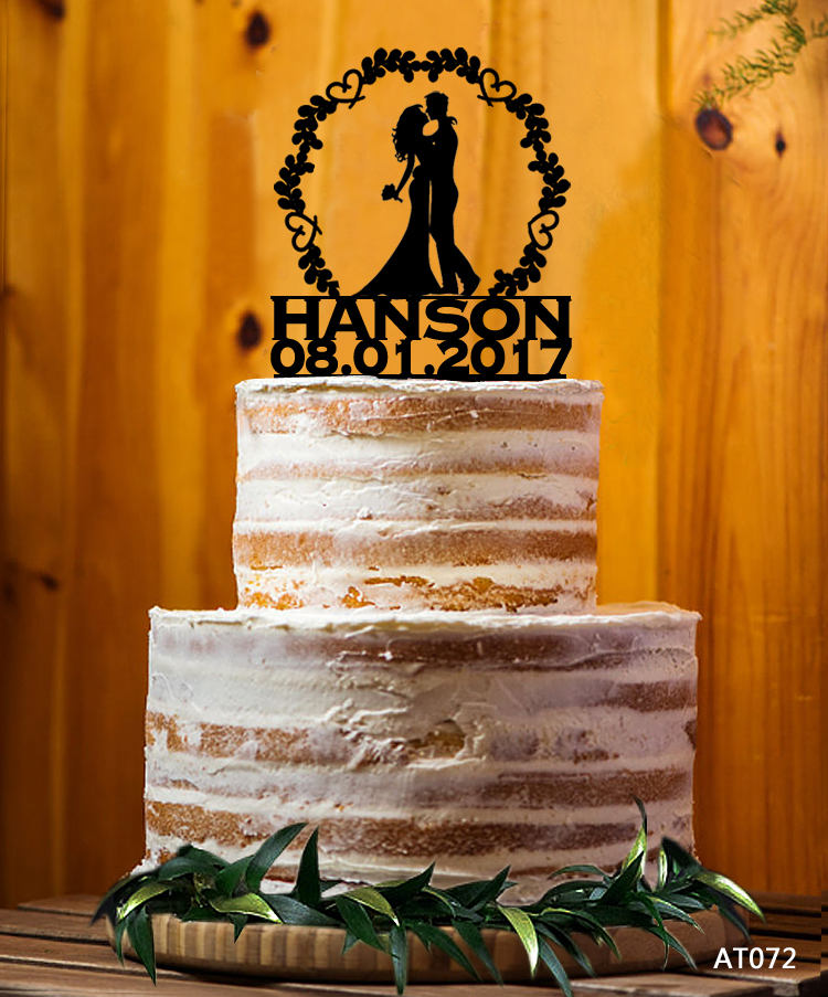 Bride & Groom Silhouette Cake Topper, Mr. & Mrs. Last Name Decor Wedding Custom Party - At072