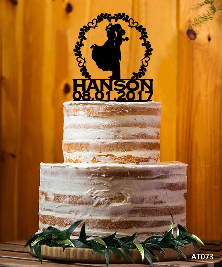 Bride & Groom Silhouette Cake Topper, Mr. & Mrs. Last Name Decor Wedding Custom Party - At073
