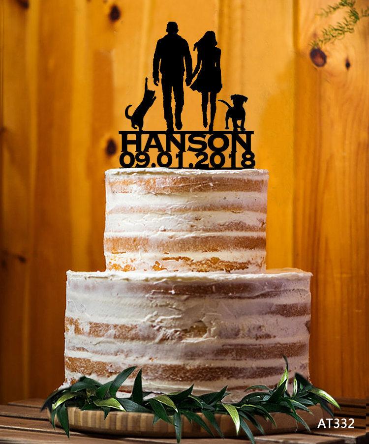 Bride & Groom Silhouette Cake Topper, Mr. & Mrs. Last Name Decor Wedding Custom Party - At332