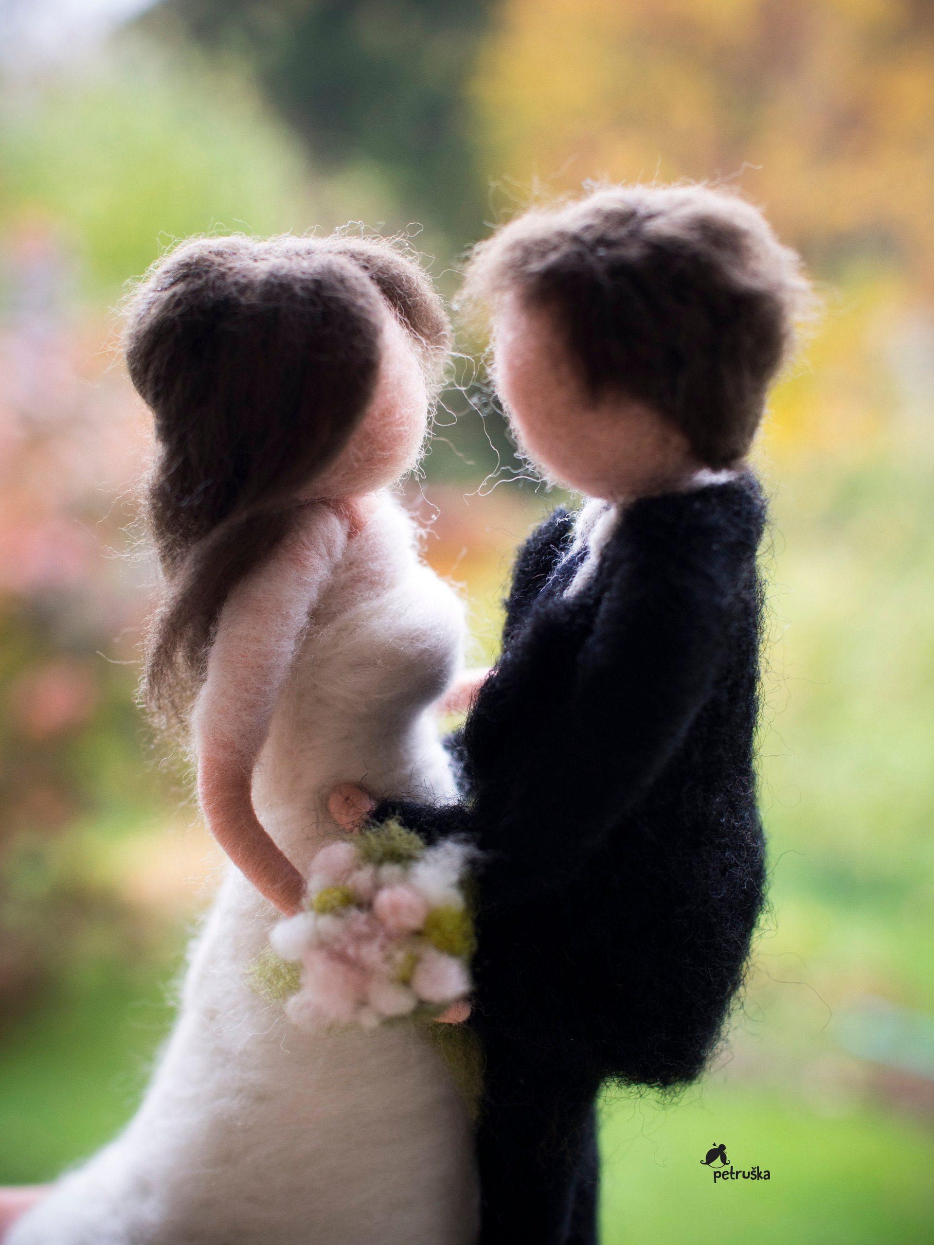 Bride & Groom Wedding Figurine, Custom Cake Topper, Couple Portrait