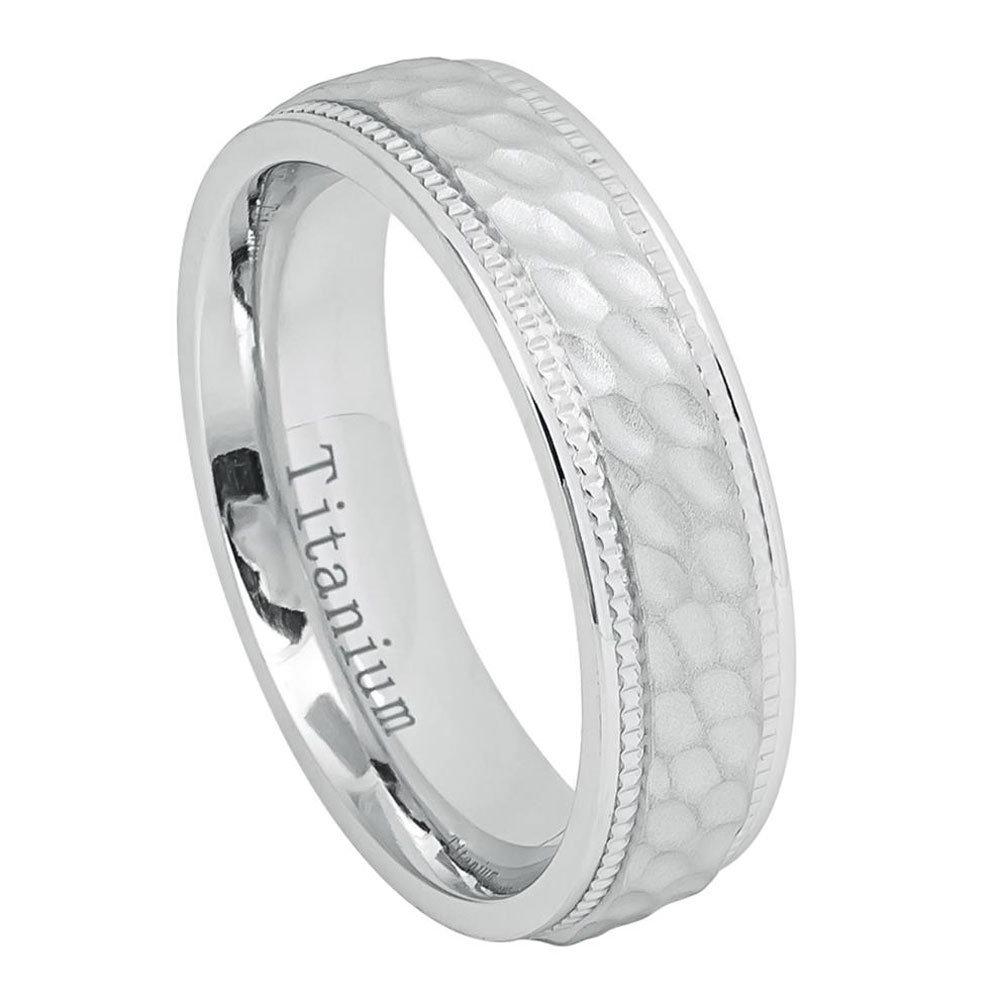 Custom Engraving 6mm Titanium Band White Ip Brushed Dimpled Center Milgrained Edges Ring(Jdti641