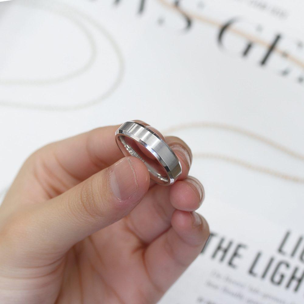 Custom Engraving 6mm Titanium Band White Ring Brushed Center Shiny Beveled Edge(Jdti546