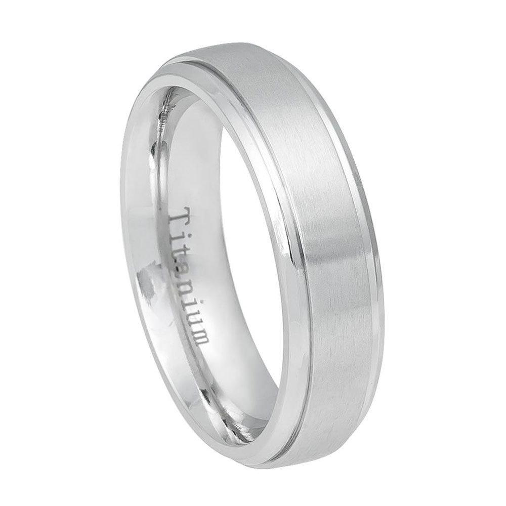 Custom Engraving 6mm Titanium Band White Ring Brushed Center Shiny Step Edge/Gift Box(Jdti544