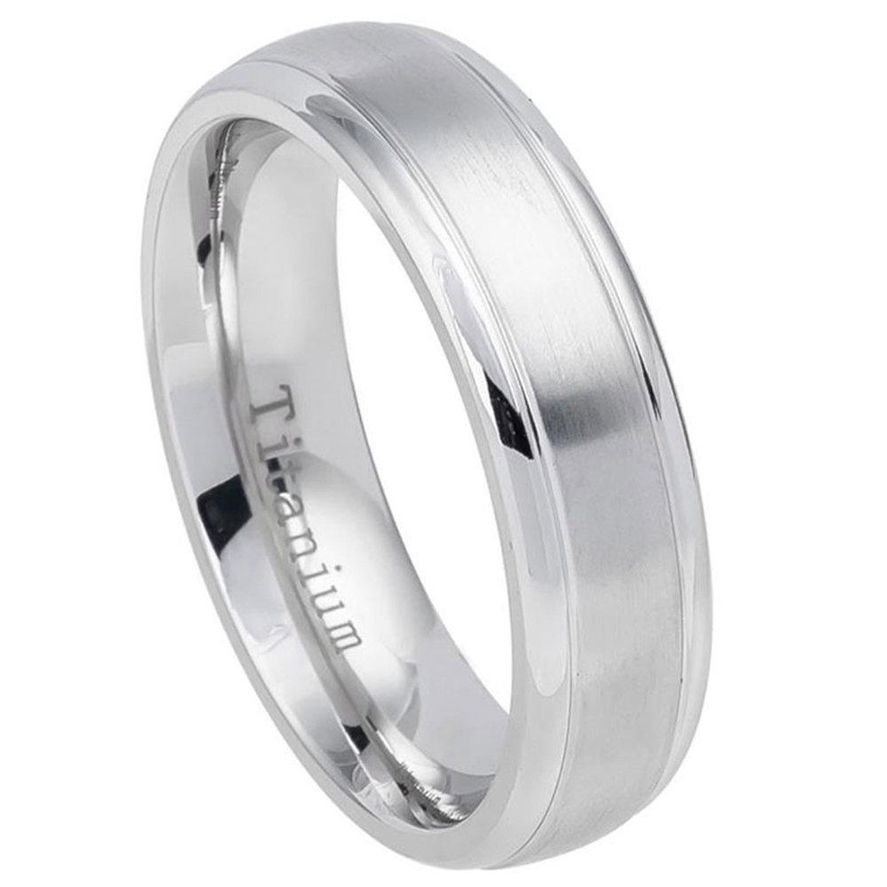 Custom Engraving 6mm Titanium Band White Ring Domed Brushed Center Step Edge/Gift Box(Jdti557