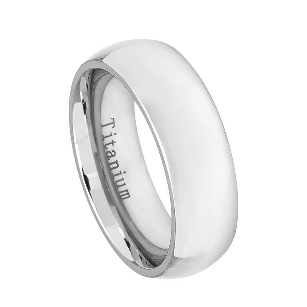 Custom Engraving 7mm Titanium Band White Classic Domed Ring/Gift Box Ship From Usa(Jdti537