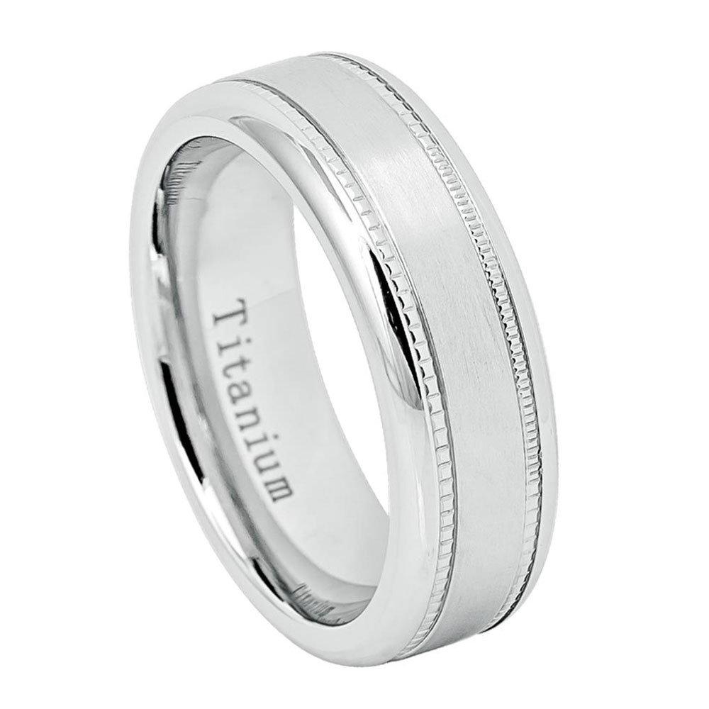 Custom Engraving 7mm Titanium Band White Ip Ring Brushed Center Milgrain/Gift Box(Jdti652