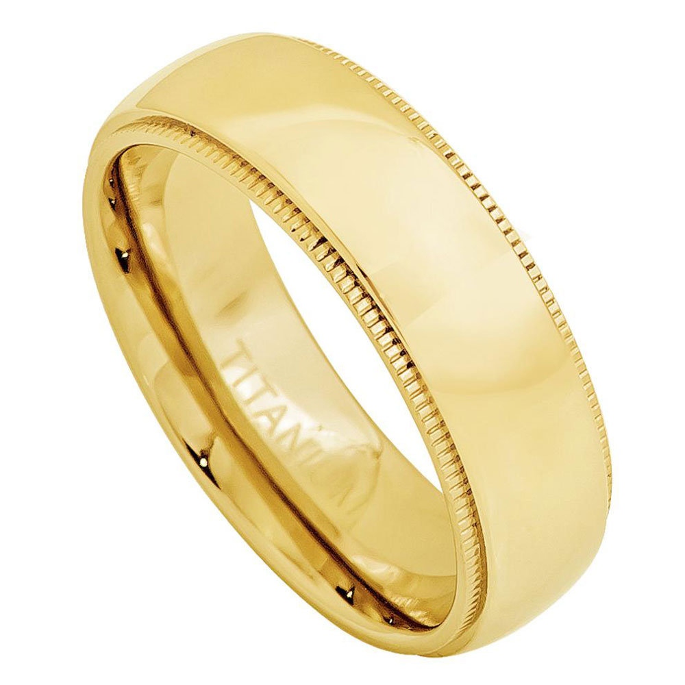 Custom Engraving 7mm Titanium Band Yellow Gold Plated Domed Ring With Milgrain(Jdti478