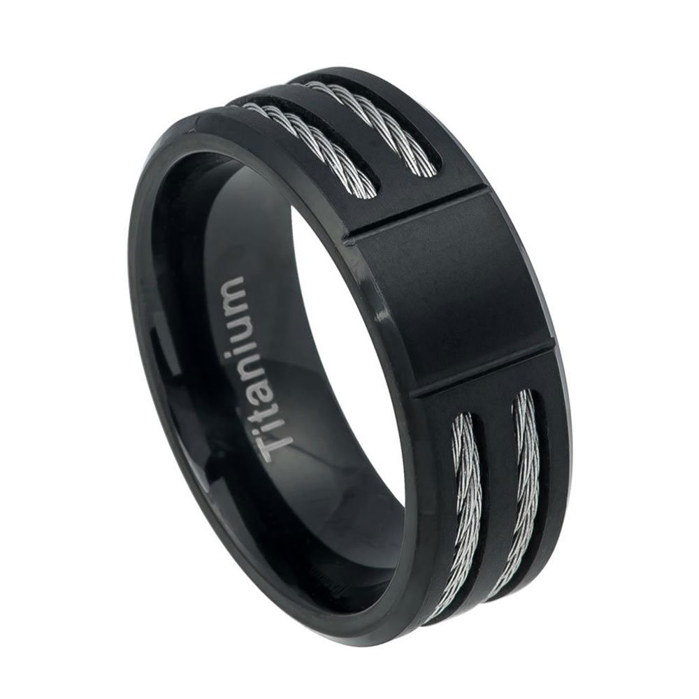 Custom Engraving 8mm Titanium Band Grooved Center Black Ip Ring Double Rope Inlay(Jdti553