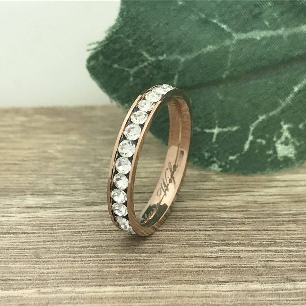 3mm Titanium Wedding Ring, Personalized Engrave Rose Gold Plated Eternity Cz Band Promise Ring Trb161