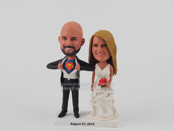 Funny Wedding Cake Toppers, Custom Cake Topper Superman Topper, Unique Topper, Custom Bobblehead Doll