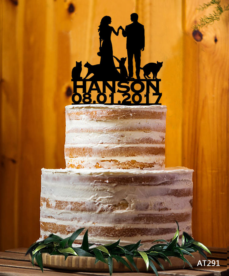Customize Cake Topper With Cat, Mr. & Mrs. Last Name Topper, Bride & Groom Wedding At291