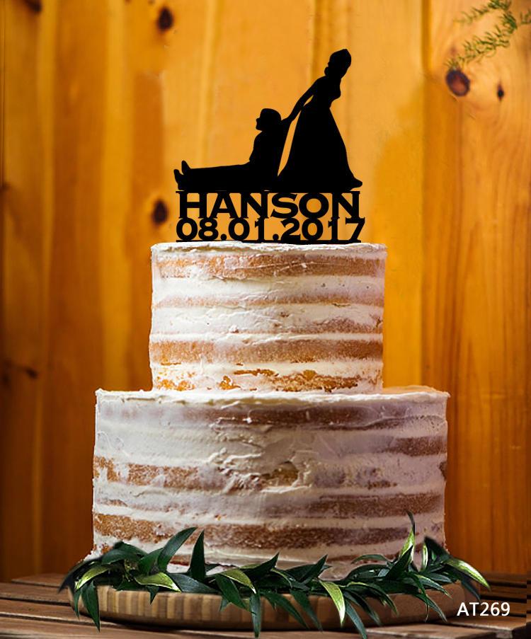 Customize Cake Topper, Mr. & Mrs. Last Name Bride & Groom Wedding Topper - At269