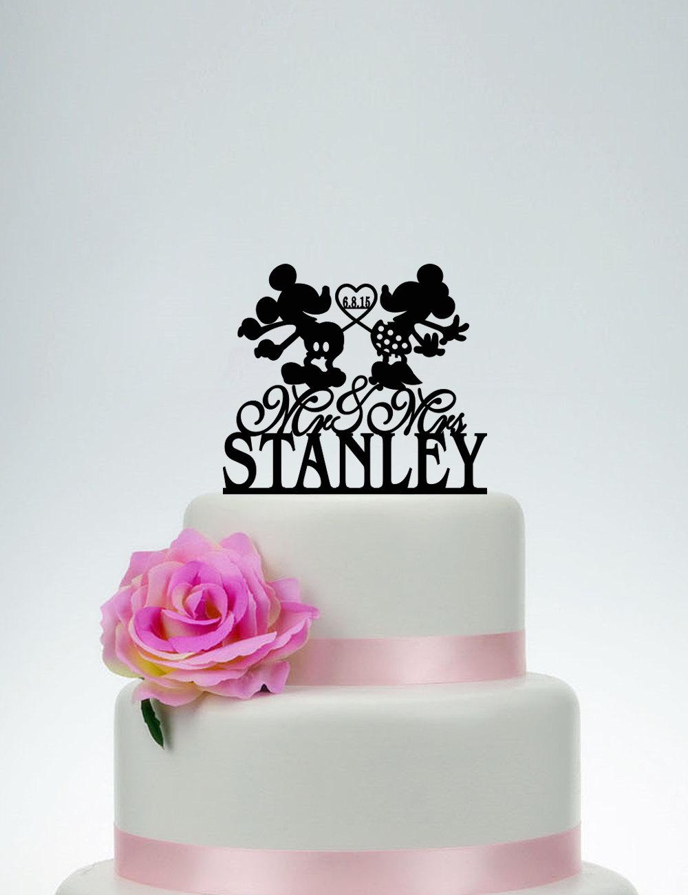 Custom Cake Topper, Wedding Topper, Personalized Topper, Mickey & Minnie Topper, Bride Groom Topper, Disney Topper C066