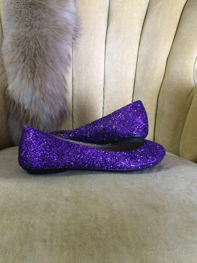 Women's Custom Made To Order Purple Glitter Ballet Flats. Glitter Slip On Shoes