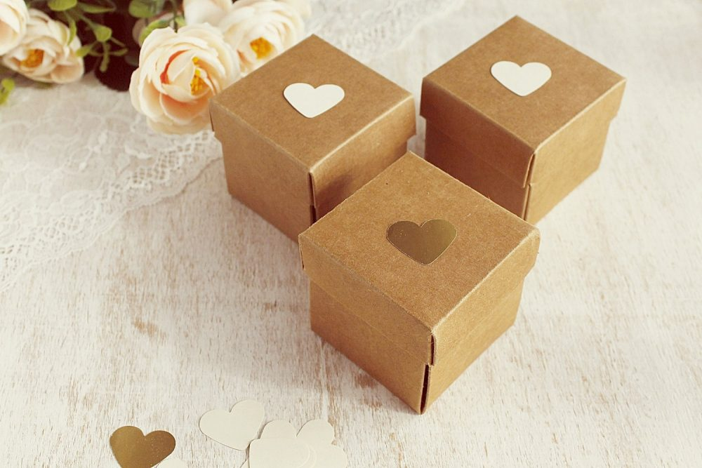 75 Kraft Wedding Favor Boxes, Rustic Cube Gift Party Small Origami Boxes