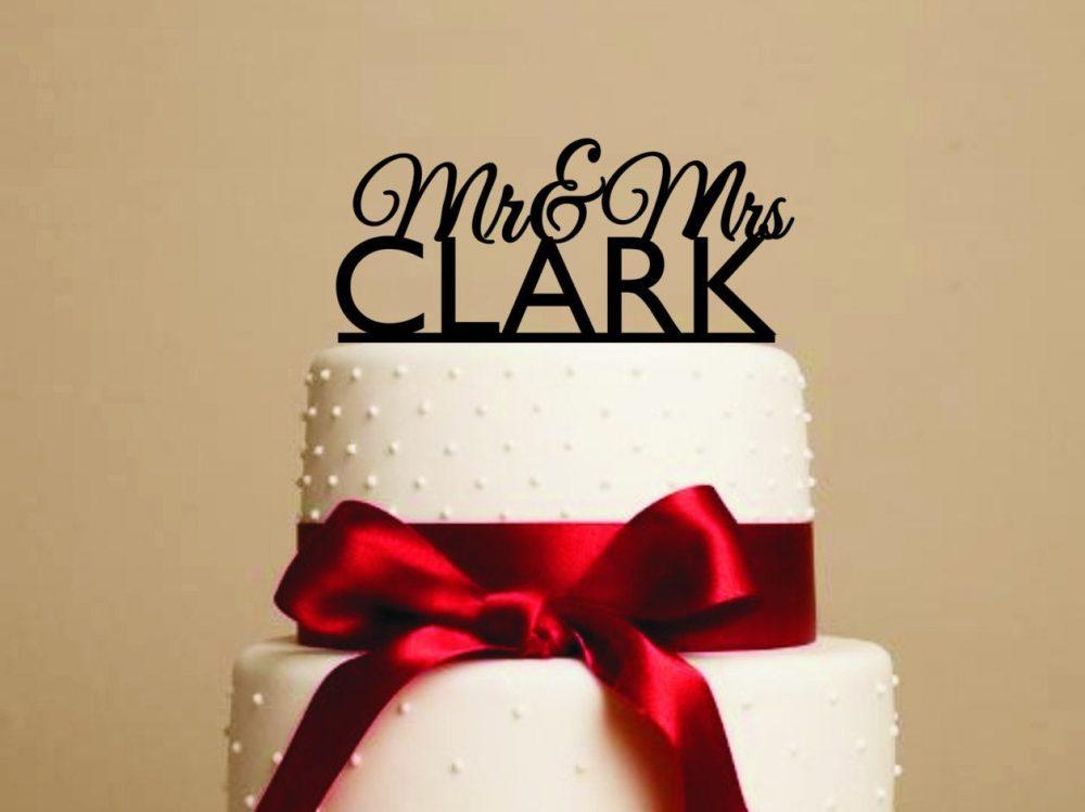 Custom Cake Topper Mr. & Mrs. Wedding Cake Topper Groom Bride Custom Name Date
