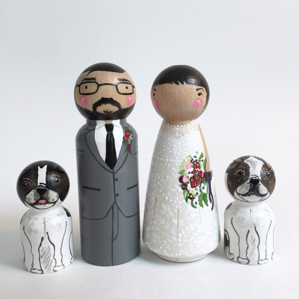 "Custom Cake Topper Peg Dolls 3 1/2"" + 2 Pets // Family 4 Wedding Toppers"