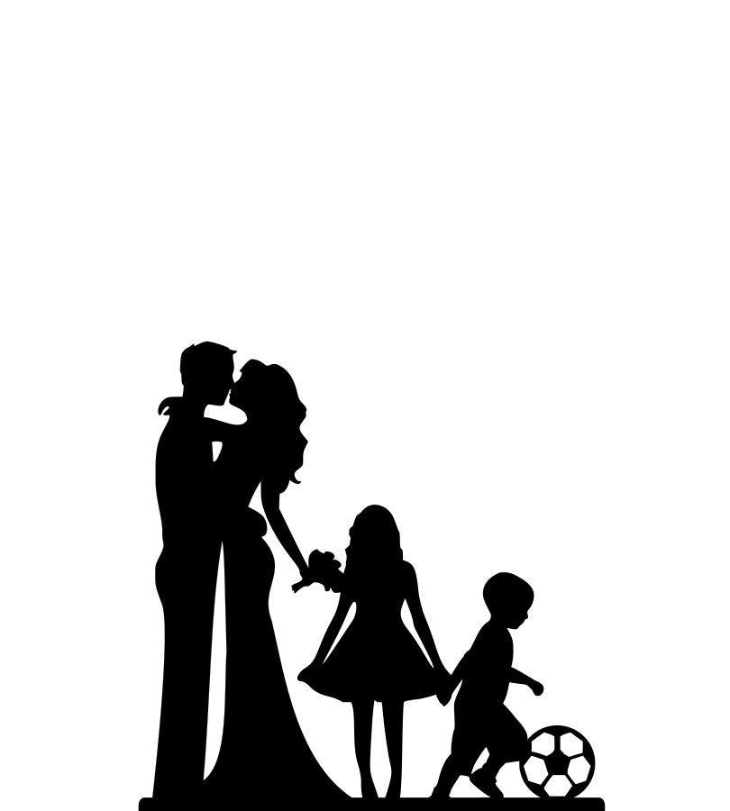 Family Silhouette Wedding Cake Topper Mr & Mrs Bride & Groom With Children Custom Cake Topper A30