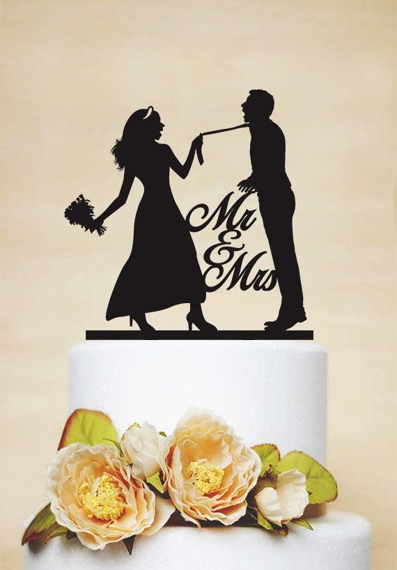Funny Wedding Cake Topper, Custom Cake Topper, Mr & Mrs Bride & Groom Silhouette, Just Married Topper P163