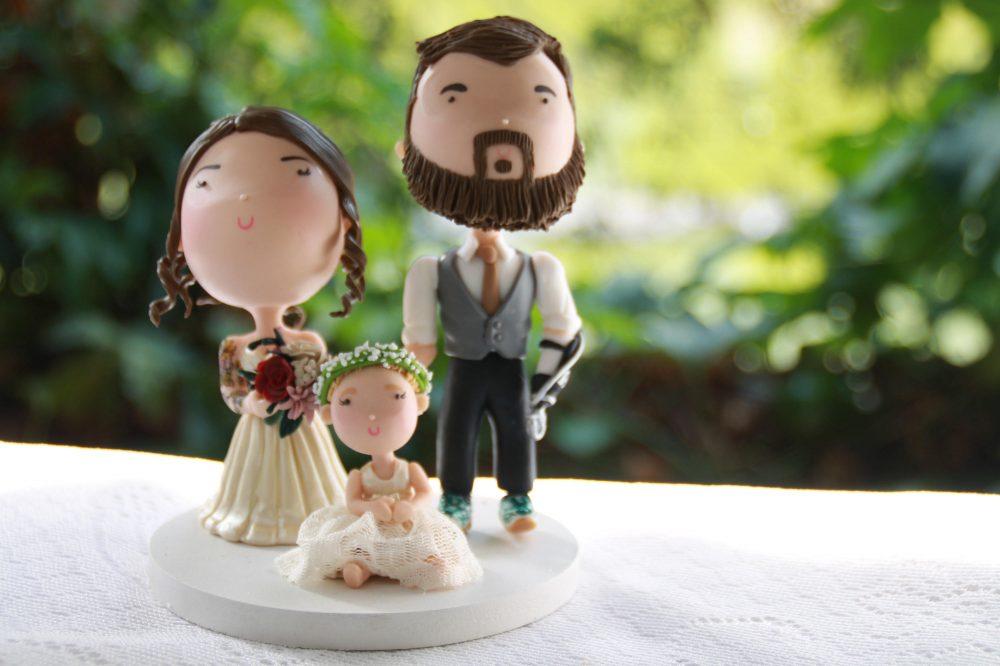 Custom Cake Topper Family - Groom With Hook, Tattooed Bride, Blonde Toddler. Handmade. Fully Customizable. Unique Keepsake