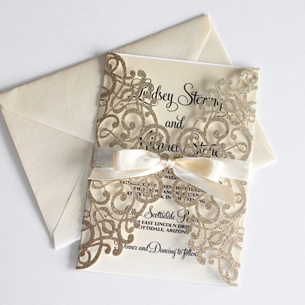 Gold Glitter Invitation | Lace Wedding Elegant Invite Laser Cut Ivory Lindsey