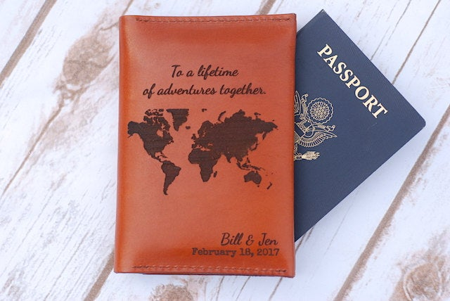 Leather Passport Holder Sleeve, Wedding Gift, Cover, Groom Gift From Bride, Fiancé Day Bride Travel Wallet