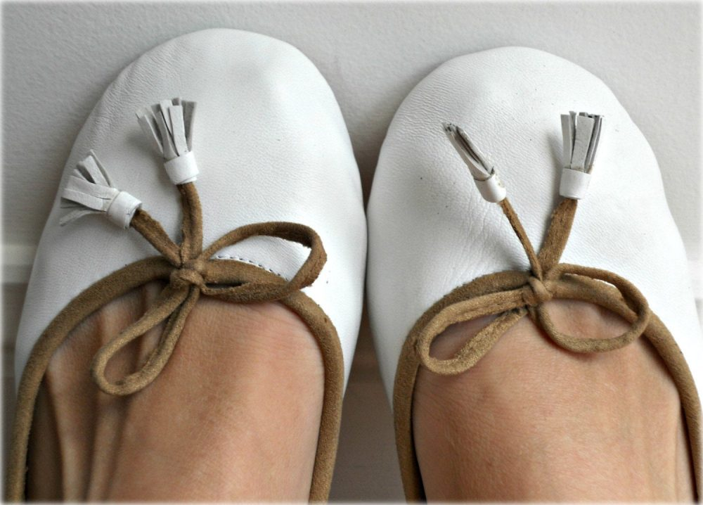 Coco - White Leather Ballet Flats Size/Women's Shoes/ Wedding Bridal