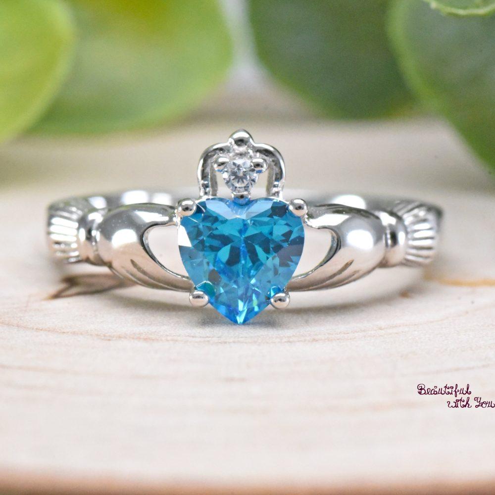 Blue Topaz Cz Ring Claddagh Irish Celtic Sterling Silver Wedding Band Promise Womens