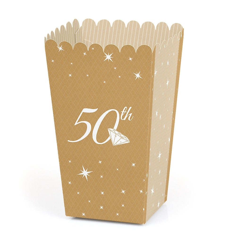50Th Anniversary - Party Favor Popcorn Treat Boxes Set Of 12