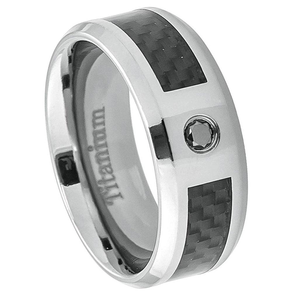 8mm Titanium Band Ring Carbon Fiber Inlay 0.07Ct Black Diamond(Jdti384
