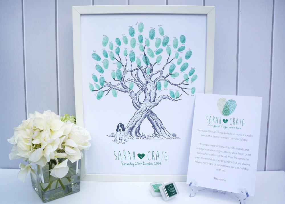 Custom Pet Wedding Fingerprint Tree Guestbook