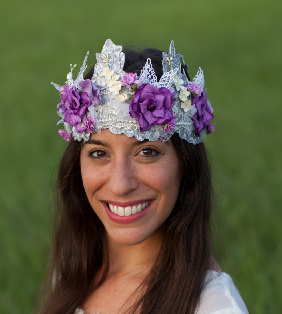 Flower Crown, Lace Floral Bridal Wedding Headpiece, Purple Hair Wreath, Victorian Tieback