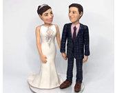 Bride Groom Keepsake Wedding Sculpture 3D Portrait Custom Personalised Cake Topper Handmade