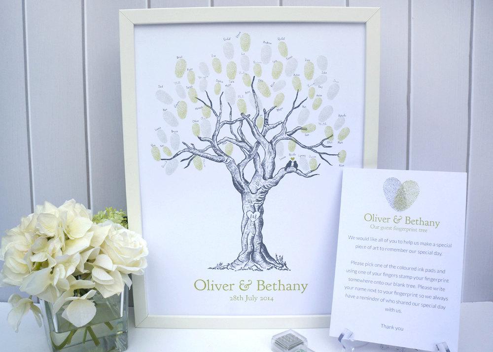 Custom Wedding Fingerprint Tree - With Lovebirds