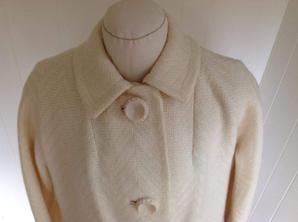 1960S Off-White Women's Coat, Lightweight Wool Fully Lined Dressy Overcoat, Winter White Size Medium, Made in Usa