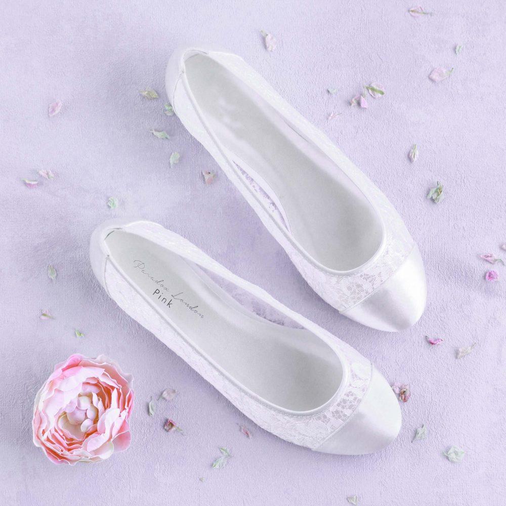 Women's Ivory Lace Flat Wedding Bridal Bridesmaid Ballet Ballerina Shoes