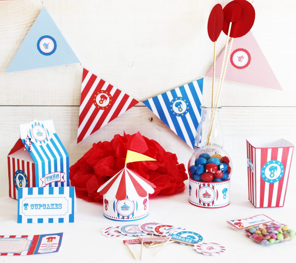 Birthday Decor, Circus, Child, Personalized Box Popcorn, Toppers, Invitation, Garland, Pennant
