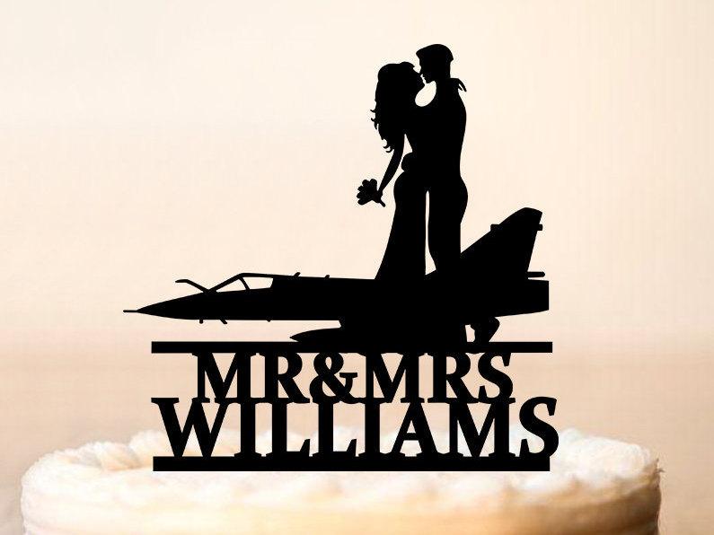 Airplane Wedding Cake Topper, Mr & Mrs Groom Bride Kissing, Custom Pilot Topper, Funny Topper(0292