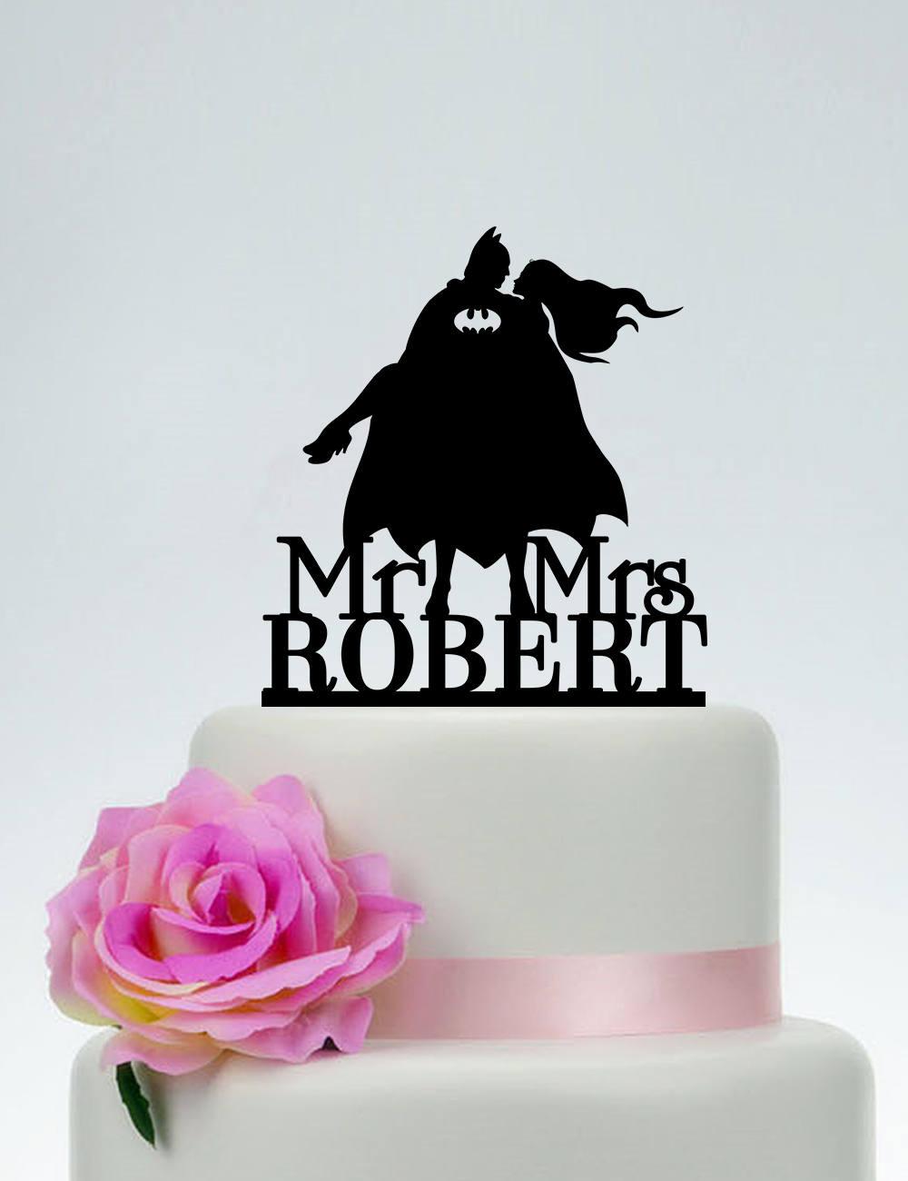 Batman Cake Topper, Wedding Topper, Mr & Mrs Topper, Super Hero Wedding, Batman Bride Silhouette, Custom Topper C245