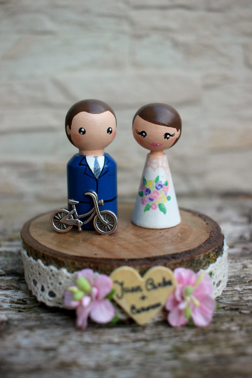 Bicycle Cake Topper Personalized Peg Doll Cake Topper - Wedding Wedding Topper Custom Bride & Groom Rustic