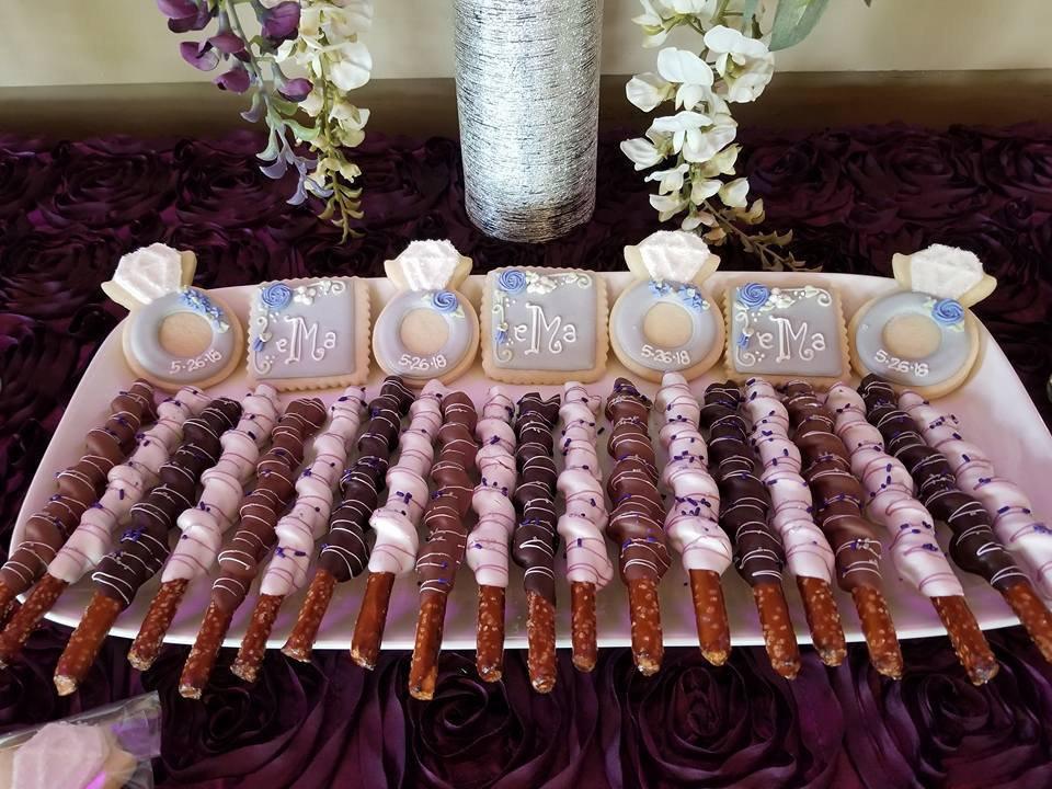 1 Dozen Purple Chocolate Pretzles, Lavender, Purple, Baby Shower, Wedding Bridal Favors, Decor, Cookies, Treats, Theme