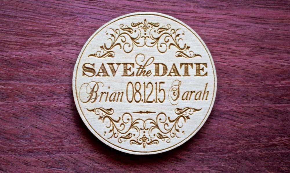 Wooden Save The Date, Wood Save Date Magnet, Circle Magnets, Wedding Favor, Laser Engraved, Rustic Wedding, Date