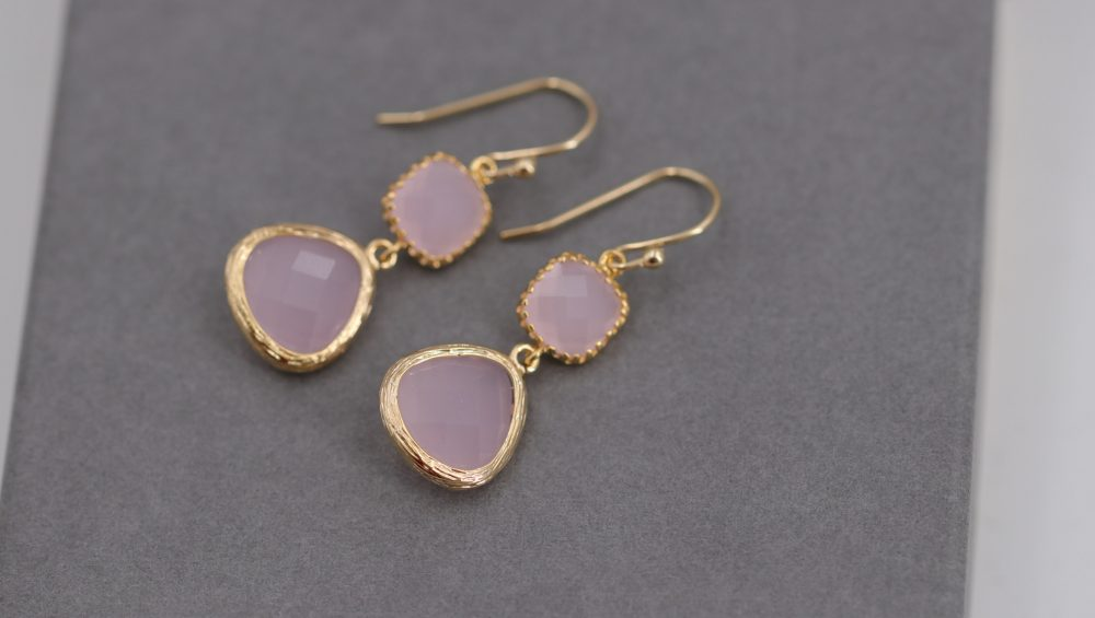 Pink Chalcedony Earrings, Long Bridal Jewelry, Stud Pink, Wedding Mother's Day, Crystal Earrings
