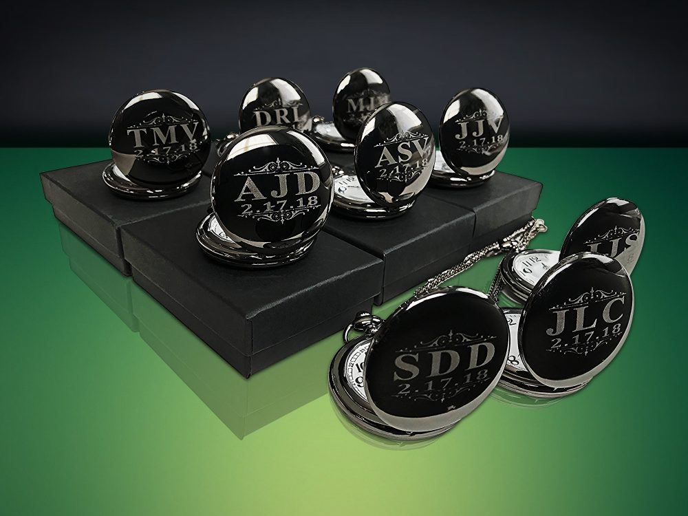 Groomsman Gifts, Set Of 11, Black Engraved Pocket Watches, Customized Wedding Gifts For Him, Mens Ring Bearer Gift Set, Personalized