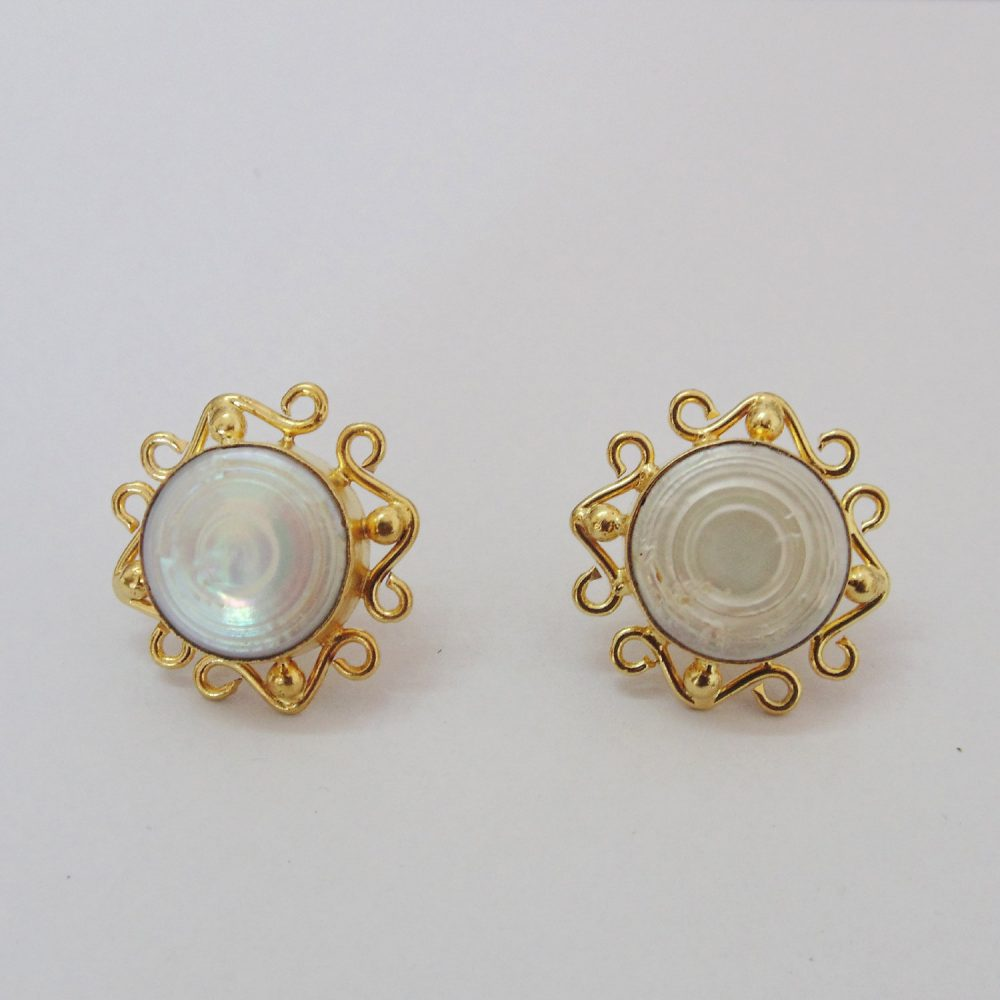 Natural Mother Of Pearl Stud Earrings, 18K Gold Plated Round Shape Designer Unique Wedding Gift Earrings