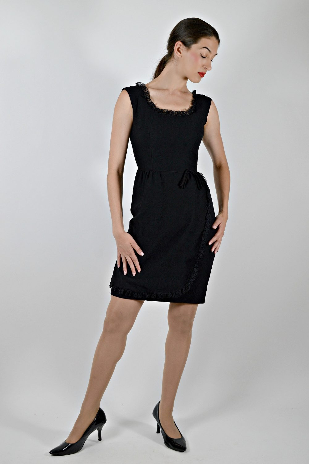 50S Black Pencil Dress, Sleeveless Fitted Pin Up Wiggle Size Medium, Audrey Hepburn Style, Faux Wrap Dress