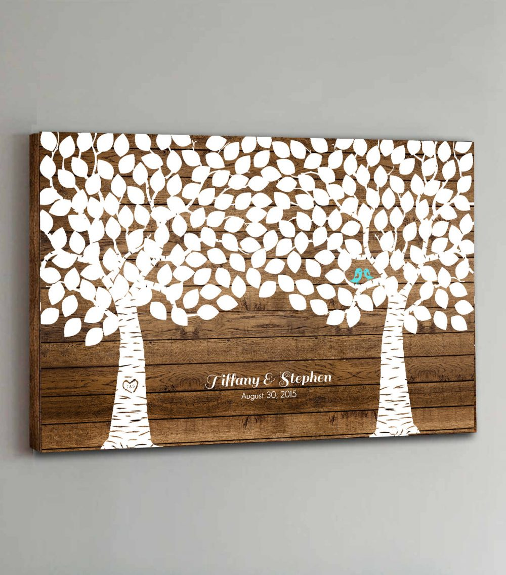 Canvas Wedding Guest Book Wood - 200 Guests Two Double Tree Guestbook Canvas Alternative Book Design