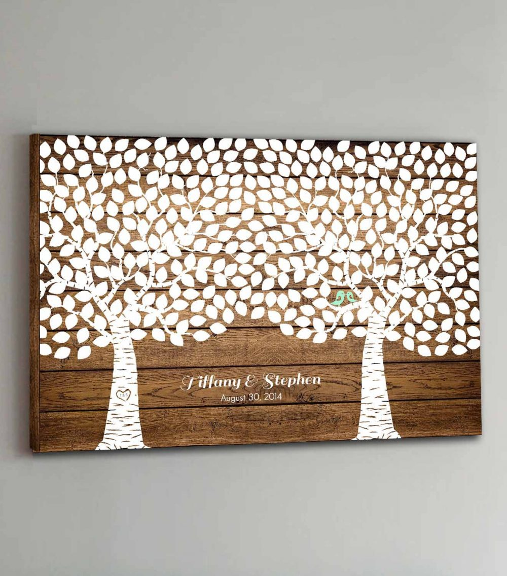 400 Guest Canvas Wedding Book Wood Two Double Tree Guestbook Canvas Alternative Guestbk - Design