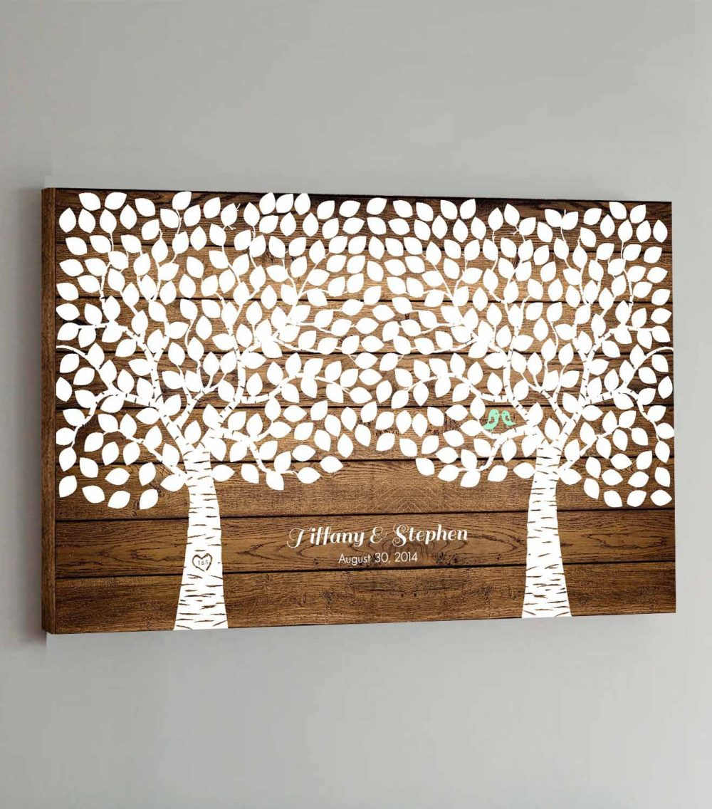Canvas Wedding Guest Book Wood - 350 Guests Two Double Tree Guestbook Canvas Alternative Design