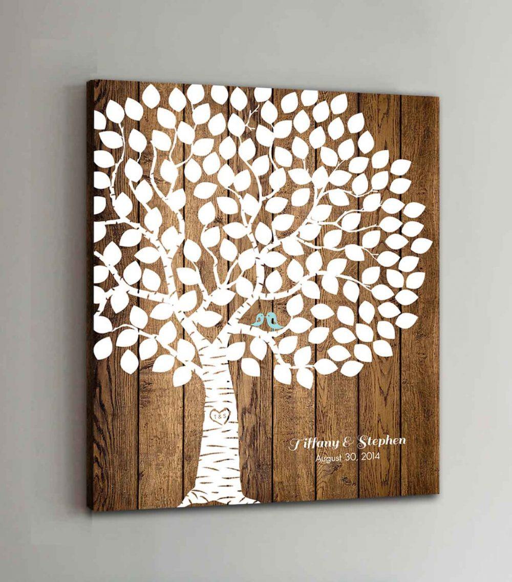 150 Guest Canvas Wedding Book Wood Tree Guestbook Canvas Alternative